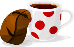 Kaffeebohne und Cup Stockfotos