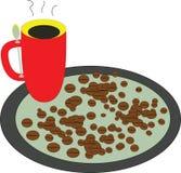 Kaffeebohne und eine Schale der heißen Kaffeeillustration stockfoto