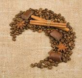 Kaffeebohne, Zimt, Schokolade und Anis Lizenzfreies Stockbild