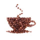 Kaffeebohnecup stockfotos