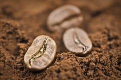 Kaffeebohnen auf einem geerdeten Kaffee Lizenzfreie Stockfotografie