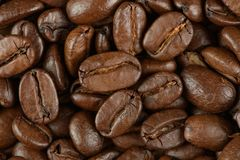 Kaffeebohnen auf einer Tabelle stockfoto