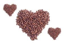 Kaffeebohnen auf weißem Hintergrund Lizenzfreie Stockfotografie