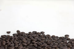 Kaffeebohnen auf weißem Hintergrundbereich für Kopienraum Stockfotos
