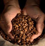 Kaffeebohnen in den Händen auf dunklem Hintergrund Lizenzfreies Stockfoto
