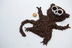 Kaffeebohnen, die Affeform bilden Lizenzfreie Stockbilder