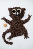 Kaffeebohnen, die Affeform bilden Lizenzfreie Stockfotografie