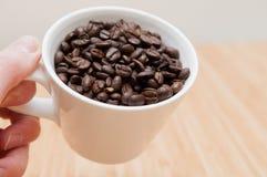 Kaffeebohnen in einem Becher Stockfotografie