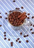 Kaffeebohnen in einem Glascup mit Zimt Lizenzfreie Stockfotografie