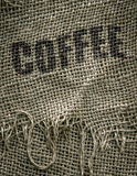 Kaffeebohnen in einem Leinwand-Sack Lizenzfreies Stockbild