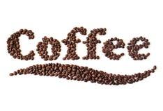 Kaffeebohnen geschrieben Lizenzfreie Stockfotos