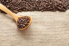 Kaffeebohnen gesehen von oben Lizenzfreies Stockfoto