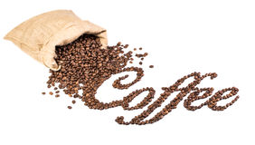 Kaffeebohnen im Leinwandsack. Lizenzfreie Stockfotografie