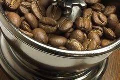 Kaffeebohnen im Schleifer Stockbild