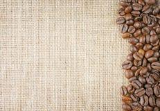 Kaffeebohnen juta Stockfoto