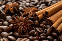 Kaffeebohnen mit Anisessstäbchen des Zimts lizenzfreie stockfotografie