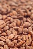 Kaffeebohnen mit Fokus auf einem Lizenzfreie Stockfotos
