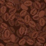 Kaffeebohnen mit Wörtern Hand gezeichnetes nahtloses Muster Lizenzfreies Stockfoto