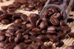 Kaffeebohnen nehmen der Probe das Labor Stockbild