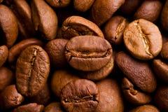 Kaffeebohnen schließen oben Lizenzfreie Stockfotografie