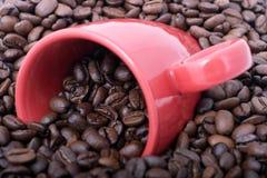 Kaffeebohnen und Becher Lizenzfreie Stockfotos