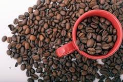 Kaffeebohnen und Becher Stockbild