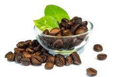 Kaffeebohnen und Blätter in der Schüssel Stockfotografie