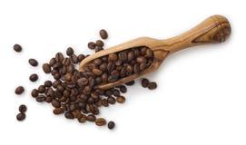 Kaffeebohnen und hölzerne Schaufelzusammensetzung lokalisiert auf weißem Hintergrund lizenzfreies stockfoto
