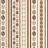 Kaffeebohnen und nahtloses Vektormuster der Streifen Lizenzfreies Stockfoto