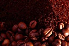 Kaffeebohnen und Pulver Lizenzfreies Stockbild