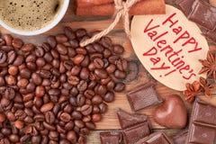 Kaffeebohnen und Schokoladen Lizenzfreies Stockfoto