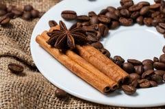 Kaffeebohnen, Zimt und Anissamen Lizenzfreie Stockbilder