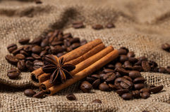 Kaffeebohnen, Zimt und Anissamen Abschluss oben Stockbild