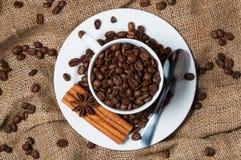 Kaffeebohnen, Zimt und Anissamen in der Kaffeetasse Lizenzfreie Stockbilder