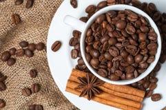 Kaffeebohnen, Zimt und Anissamen in der Kaffeetasse Lizenzfreie Stockfotos