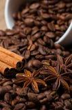Kaffeebohnen, Zimt und Anissamen in der Kaffeetasse Makro Lizenzfreie Stockfotografie