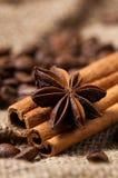Kaffeebohnen, Zimt und Anissamen Makro Lizenzfreies Stockfoto