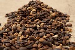 Kaffeebohnenahaufnahme auf dem Sackleinen Stockbilder