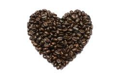 Kaffeebohnestreifen getrennt im weißen Hintergrund Stockbild