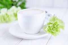 Kaffeecappuccino- und -GRÜNnelken blüht auf einem weißen Hintergrund Freier Raum Lizenzfreie Stockfotos