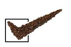 Kaffeecheckmarkierung lizenzfreies stockbild