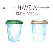 Kaffeeelemente, Aquarellfarbenhohe auflösung lizenzfreies stockbild