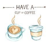 Kaffeeelemente, Aquarellfarbenhohe auflösung stockbild