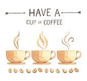 Kaffeeelemente, Aquarellfarbenhohe auflösung stockbilder