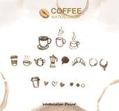 Kaffeeelemente, Aquarellfarbenhohe auflösung stockfoto