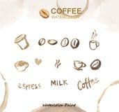 Kaffeeelemente, Aquarellfarbenhohe auflösung lizenzfreie stockbilder