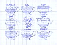 Kaffeeentwurf calao, frappe, Mokka, borgia, Latte, Iren, mazagr Lizenzfreie Stockfotos