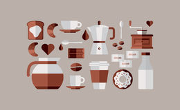 Kaffeefrühstücksikonen Stockbilder
