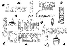 Kaffeegekritzel Stockfoto