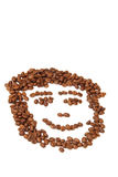 Kaffeegesicht lächelte getrennt Stockbild